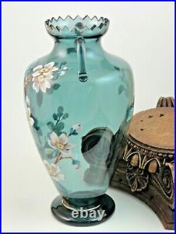 10 Antique Bohemian Harrach Hand Painted Enamel Apple Blossom Art Glass Vase