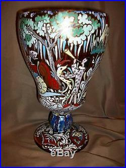 10 Tall X 6 Wide Jose Cire Royo Enameled Hand Painted Art Glass Vase