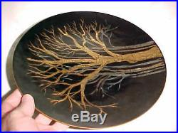 11 Signed Helen Newhard Modern Enamel Copper Art Plate Midcentury Tree Painting