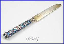 12 Russian silver with cloisonne enamel fruit forks and knives, early 20th c