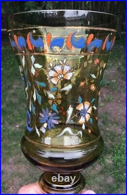 17 1/2 Moser Theresienthal Bohemian Art Glass Hand Painted Enameled Covered Urn