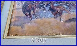 1900s Limoges Enamel Copper Western Stage Coach American CraZy Horse Painting