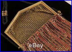 1920's Whiting & Davis Art Deco Painted Enamel Metal Mesh Purse Gold Tone