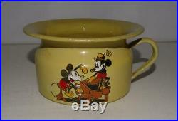 1930's MICKEY & MINNIE MOUSE HAND PAINTED GRAPHICS ON ENAMELED METAL BASEPOTTY