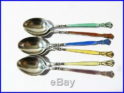 1934 Art Deco Hand Painted Scenes Enamel & Guilloche Silver Spoons Cased Vintage