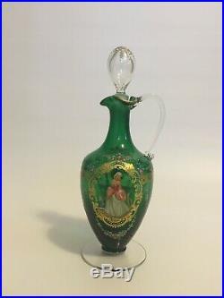 1950s Salviati & Co. Italian Murano Glass Painted Enamel Artwork Decanter