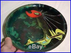 1956 Signed Bailey Modern Midcentury Surrealist Enamel Copper Art Plate Painting
