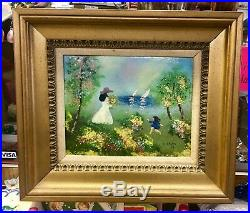 1978 LOUIS CARDIN Signed ENAMEL on COPPER Painting CHILD WOMAN SAILBOATS