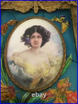 19 Th Century Antique Ormolu Bronze French Enamel Porcelain Portrait Signed