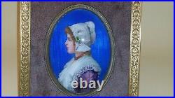 19 th Century Victorian Portrait Miniature enameled bronze