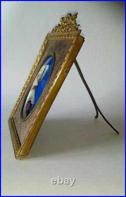 19 th Century Victorian Portrait Woman Enamel Copper Painted Plaque French Frame