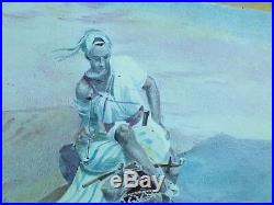 19c ANTIQUE ENAMEL PAINTED GOLD SILVER GLAZED PORCELAIN PLAQUE CAMEL SPAIN PLATE
