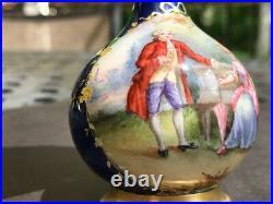 19th C. French Limoges Enamel Hand Painted Miniature Portrait Vase, SIGNED G. H