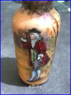 19th C. French Limoges Hand Painted Enamel Miniature Portrait Vase, SIGNED Lovit