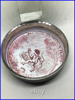 19th Century Hand Painted Centaur Signed Limoges Enamel Silver Trimmed Box Snuff