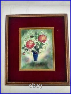 20th Century Enamel Copper Panel Picture Frame Roses In Vase Signed J. Stern