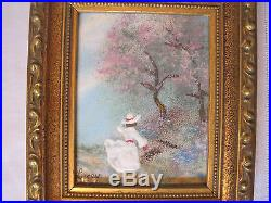 2 Enamel on Copper Paintings by Jean Lucey French Impressionist -Matching Frames