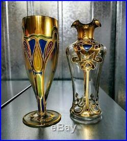 2 Hand Painted Art Nouveau design Gold Decanter Vase & Glass bohemian enamelled