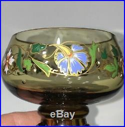 2 Moser Theresienthal Bohemian Art Glass Hand Painted Enameled Punch Cups