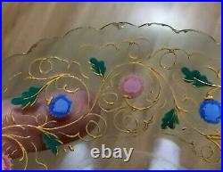 2 Moser Theresienthal Bohemian Czech Art Glass Hand Painted Enameled