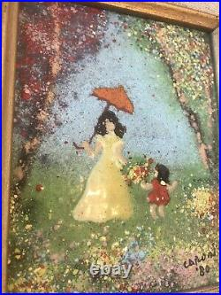 2 Original LOUIS CARDIN ARTIST SIGNED ENAMEL on Copper CHILDREN Framed Paintings