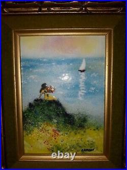 2 Original LOUIS CARDIN ARTIST SIGNED Enamel On Copper Framed Paintings GORGEOUS