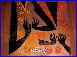 33 Rare Pair Judith Daner Enamel Copper Art Paintings Modern Midcentury Plaques