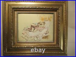 (3) Original Max Karp Enamel On Copper Intimate Scene Painting's Signed
