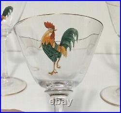 4 Dorflinger Honesdale Rooster Enameled Hand Painted Art Glass Wines