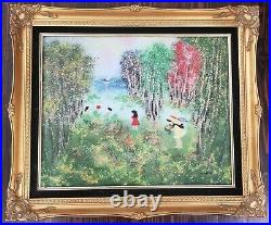 4 Large Louis Cardin Enamel on Copper Paintings with Beautiful Frames