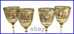 4 Venetian Amber Art Glass Hand Painted Enamel Wine Goblets
