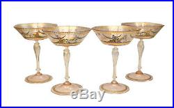 4 Venetian Art Glass Champagne Goblets, Hand Painted Enameled Antquity Scenes