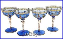 4 Venetian Blue Art Glass Hand Painted Enamel Wine Glass Goblets, c1940