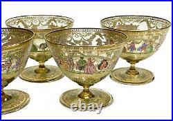 5 Venetian Amber Art Glass Hand Painted Enamel Champagne Sherbet Compotes