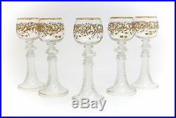 5pc Theresiental Art Glass Wine Glasses Hand Painted & Raised Enamel Gilt Floral