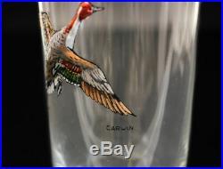 6 American Art Glass & Hand Painted Enamel Tumbler Glasses. C. 1940. Signed