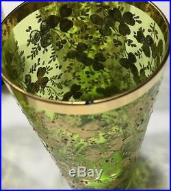 6 Moser Theresienthal Bohemian Art Glass Hand Painted Enameled Juice Glasses