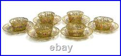 6 Venetian Amber Art Glass Hand Painted Enamel Bowl & Underplates