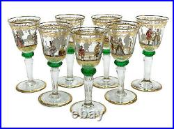 7 Venetian Art Glass Hand Painted Enamel Cordial Wine Goblets, circa 1940