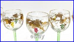 8 Continental Art Glass Wine Goblets. Hand Painted Enamel Grapes. C1940