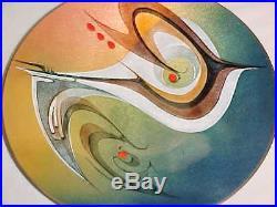 9 3/4 Anita Trottier Modern Enamel Copper Art Plate Midcentury Abstract Painting