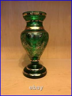 9 Moser Bohemian Czech Art Glass Vase. Emerald Sold Paint Raised Enamel Flowers
