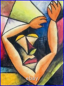 ALAN DAVIES Nocturne II Vintage Cubist Self Portrait Stained Glass