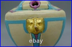 AMERICAN SATSUMA c. 1930 ART DECO ENAMEL HAND PAINTED GOLD GILT VASE POTPOURI