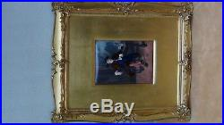 ANTIQUE 19c FRENCH INTRICATE ENAMEL PLAQUE AFTER MESSIONIER, ORNATE FRAME, SIGNED