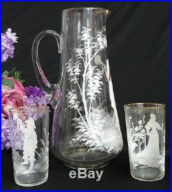 ANTIQUE Art Glass ENAMEL hand painted MARY GREGORY 12 pitcher & 6 tumblers SET