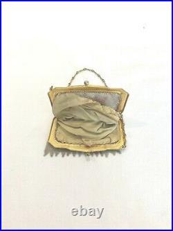 ANTIQUE FLAPPER PURSE BAG ART DECO WHITING DAVIS Co METAL MESH PAINTED ENAMEL