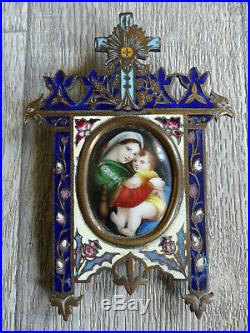 ANTIQUE FRENCH 19th CENT. RELIGIOUS MINIATURE PAINTING w. CHAMPLEVE ENAMEL FRAME