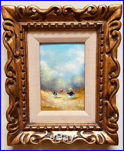 ANTIQUE ORIGINAL CHARLES PARTHESIUS ENAMEL ON COPPER PAINTING GIRLS in a MEADOW