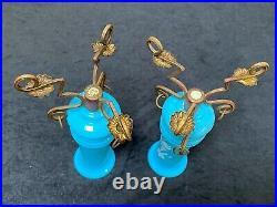 ANTIQUE Pair Blue Opaline Art Glass Enamel Painted Bronze Ring Trumpet Vases 19c